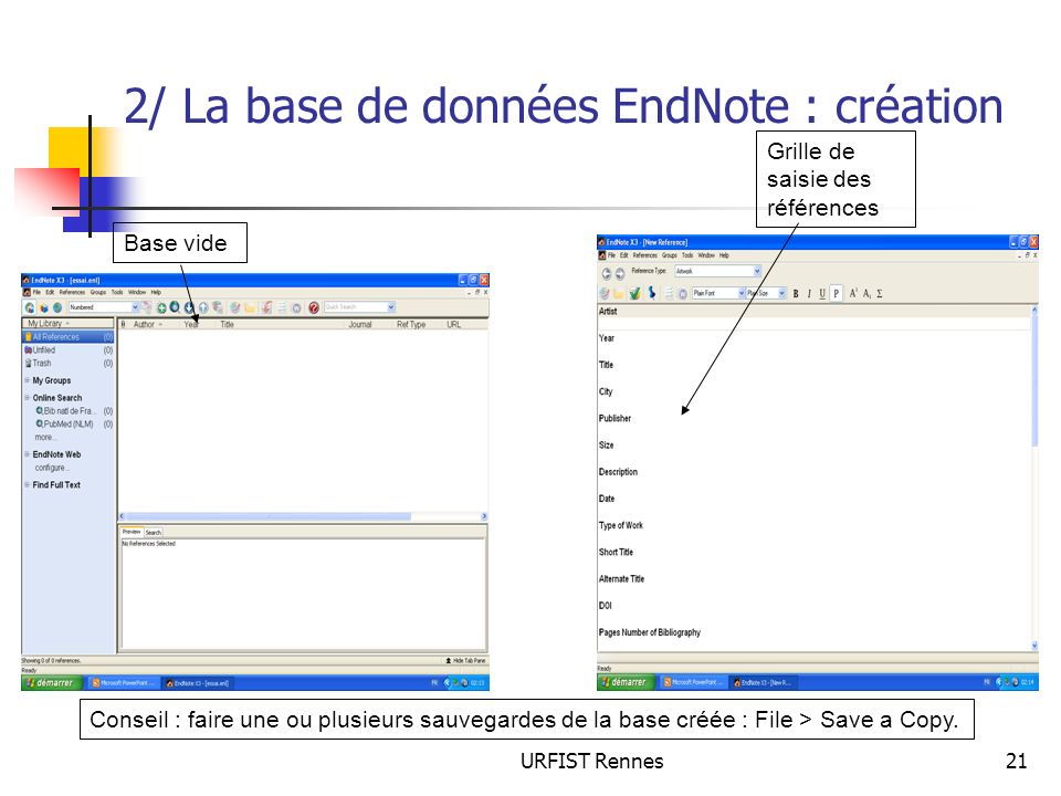 2/ La base de données EndNote : création