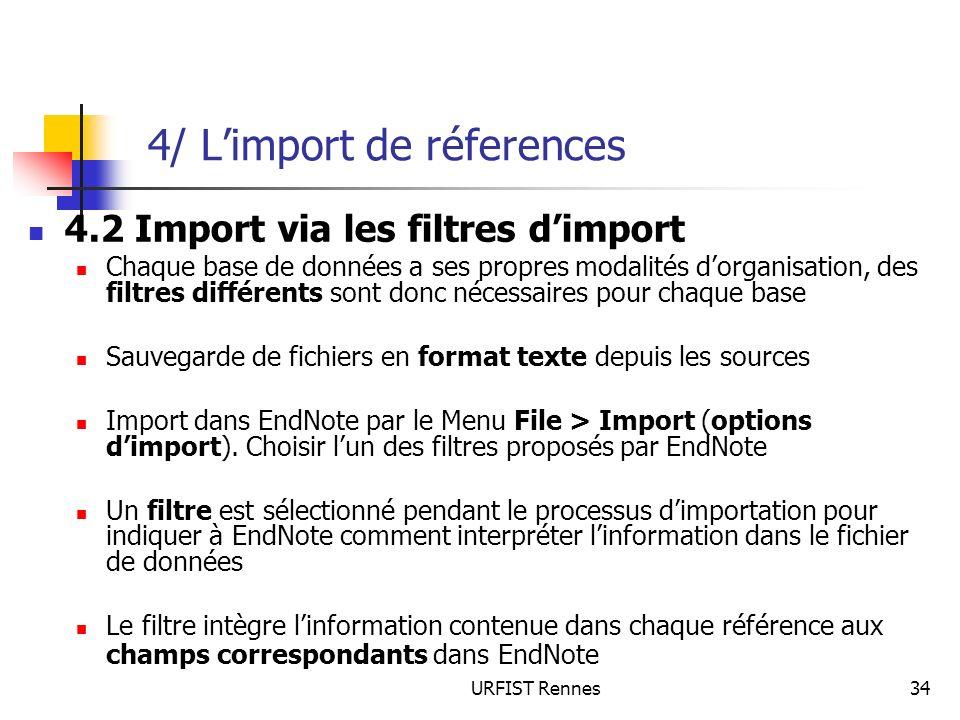 4/ L'import de réferences