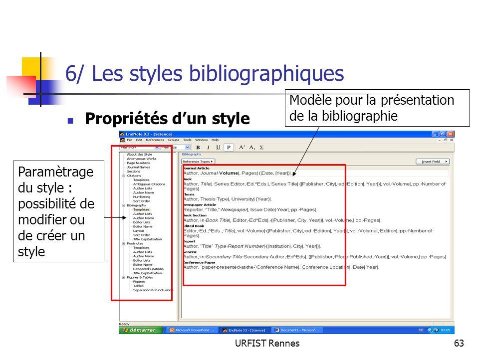 6/ Les styles bibliographiques