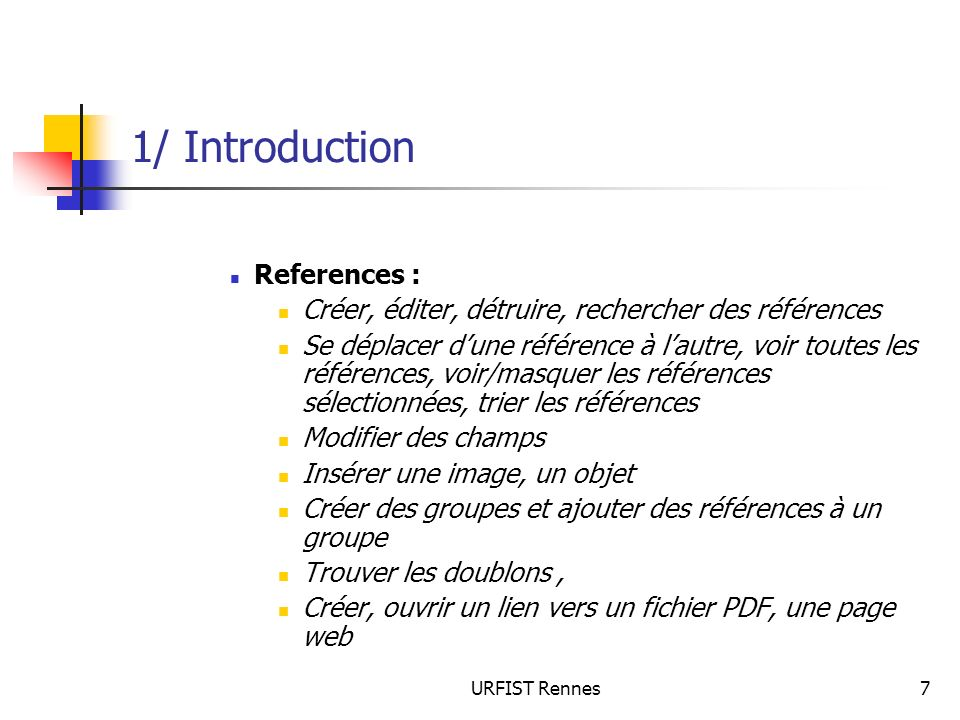 1/ Introduction References :