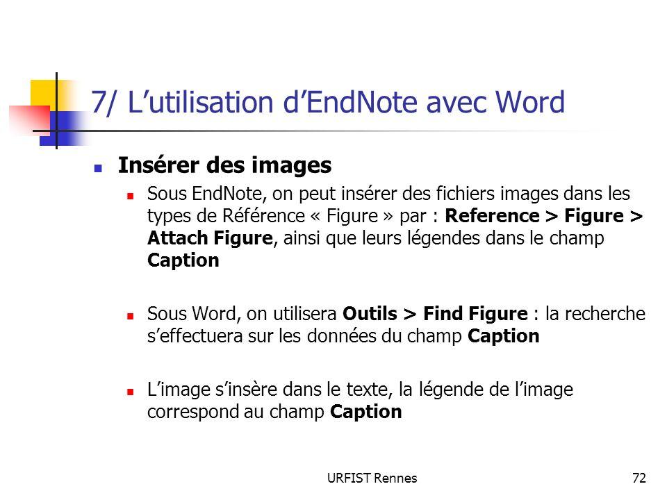 7/ L'utilisation d'EndNote avec Word