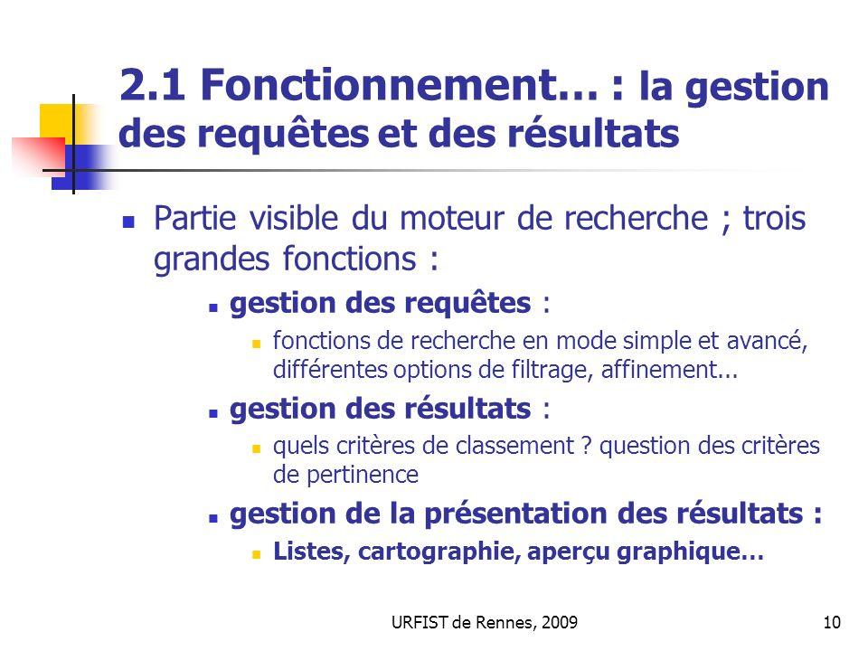 2.1 Fonctionnement… : la gestion des requêtes et des résultats