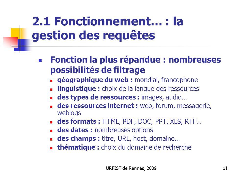2.1 Fonctionnement… : la gestion des requêtes