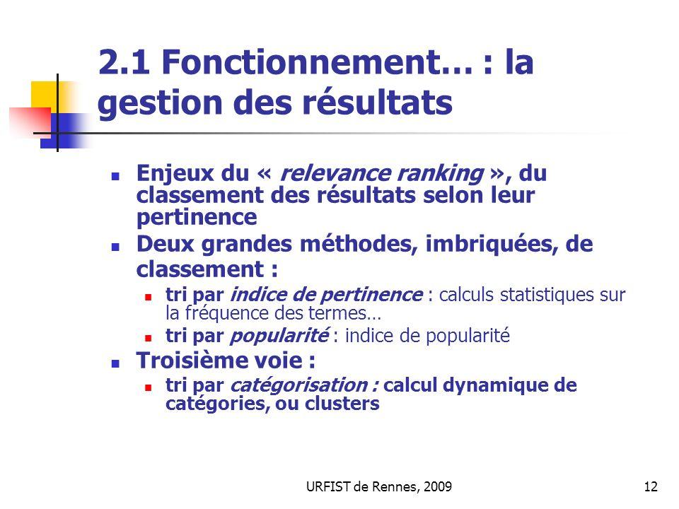 2.1 Fonctionnement… : la gestion des résultats