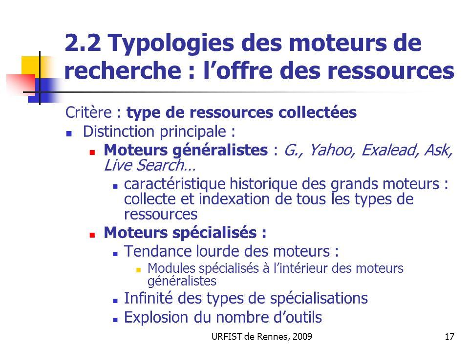 2.2 Typologies des moteurs de recherche : l'offre des ressources