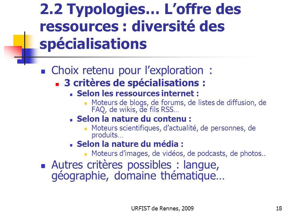 2.2 Typologies… L'offre des ressources : diversité des spécialisations