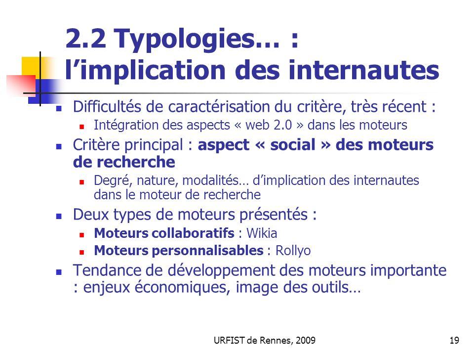 2.2 Typologies… : l'implication des internautes