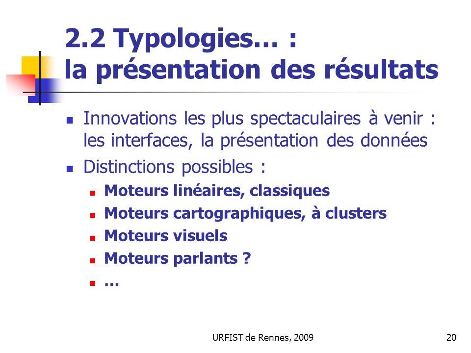 2.2 Typologies… : la présentation des résultats