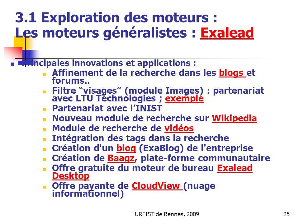 3.1 Exploration des moteurs : Les moteurs généralistes : Exalead