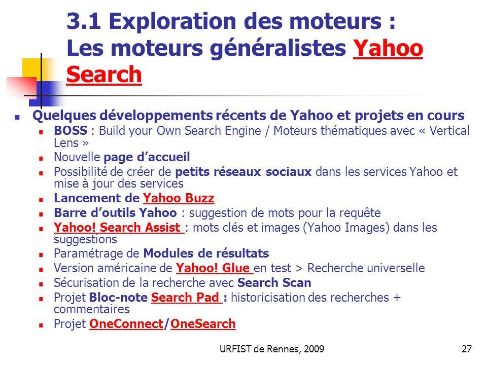 3.1 Exploration des moteurs : Les moteurs généralistes Yahoo Search