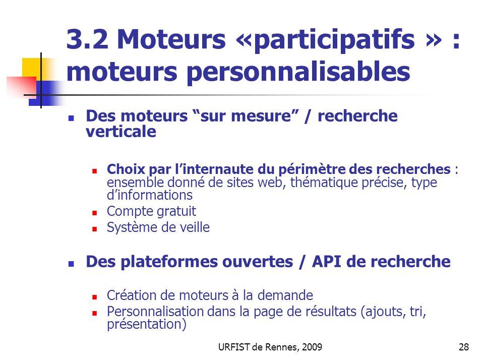 3.2 Moteurs «participatifs » : moteurs personnalisables