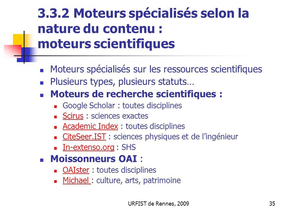 3.3.2 Moteurs spécialisés selon la nature du contenu : moteurs scientifiques
