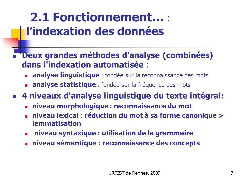 2.1 Fonctionnement… : l'indexation des données