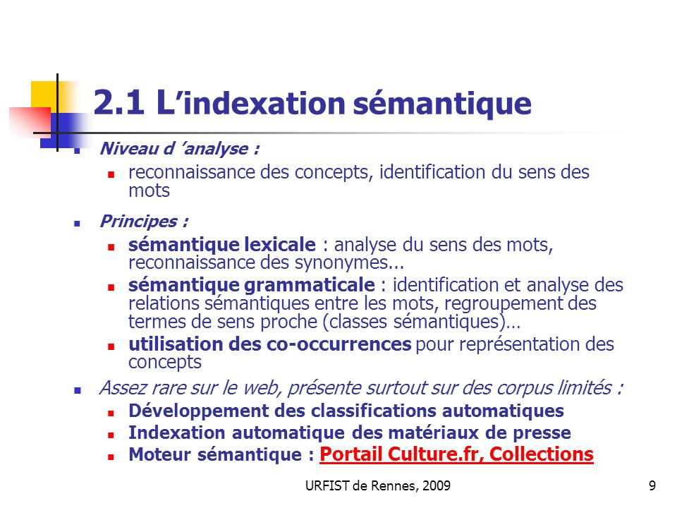 2.1 L'indexation sémantique