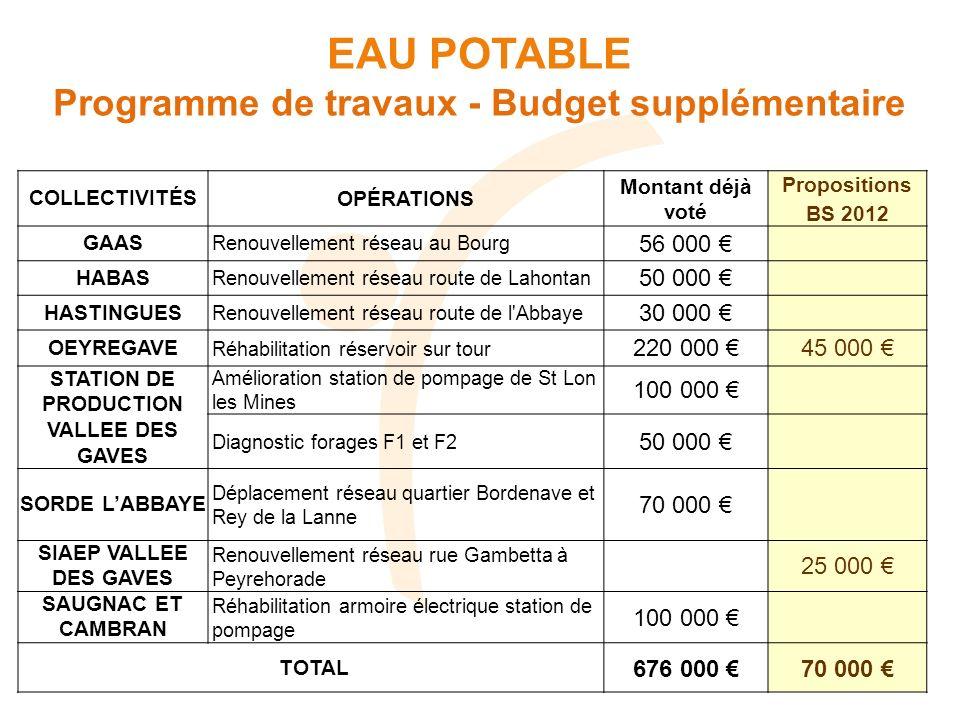 EAU POTABLE Programme de travaux - Budget supplémentaire 56 000 €