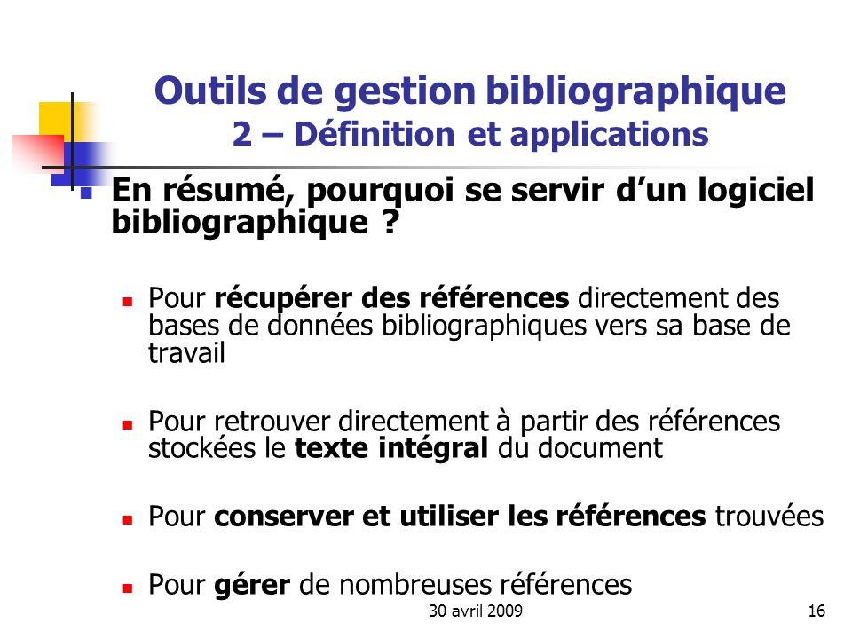 Outils de gestion bibliographique 2 – Définition et applications