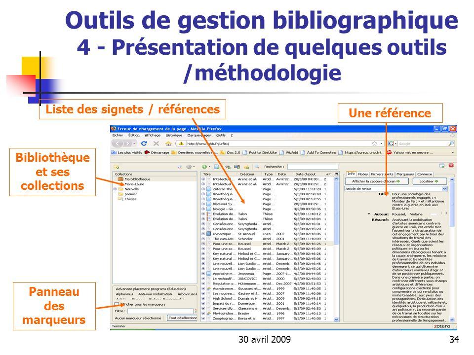 Liste des signets / références Bibliothèque et ses collections
