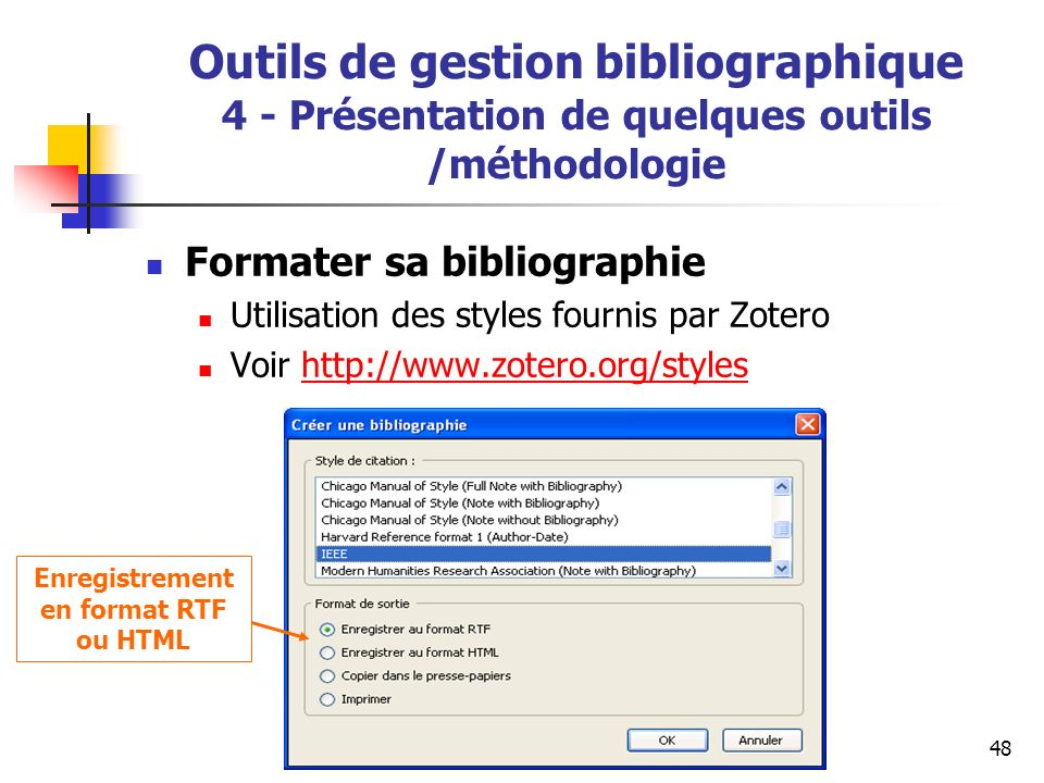 Enregistrement en format RTF ou HTML