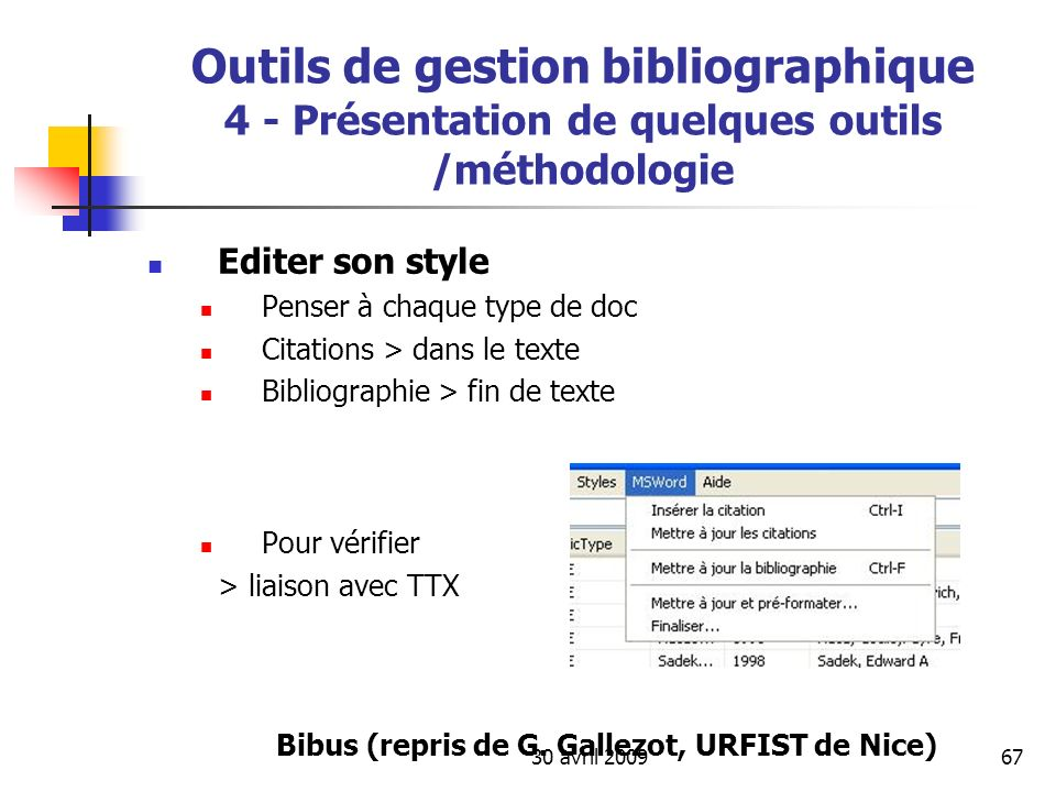 Outils de gestion bibliographique 4 - Présentation de quelques outils /méthodologie