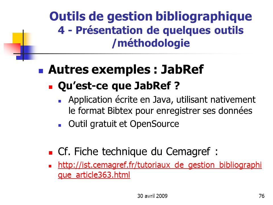 Autres exemples : JabRef