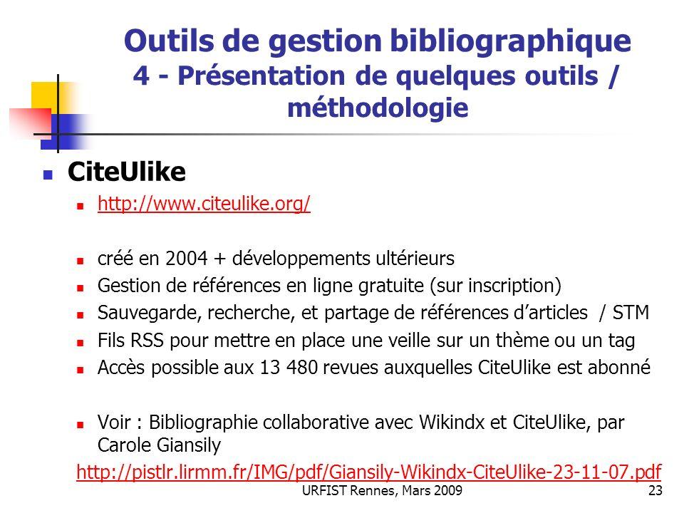 Outils de gestion bibliographique 4 - Présentation de quelques outils / méthodologie