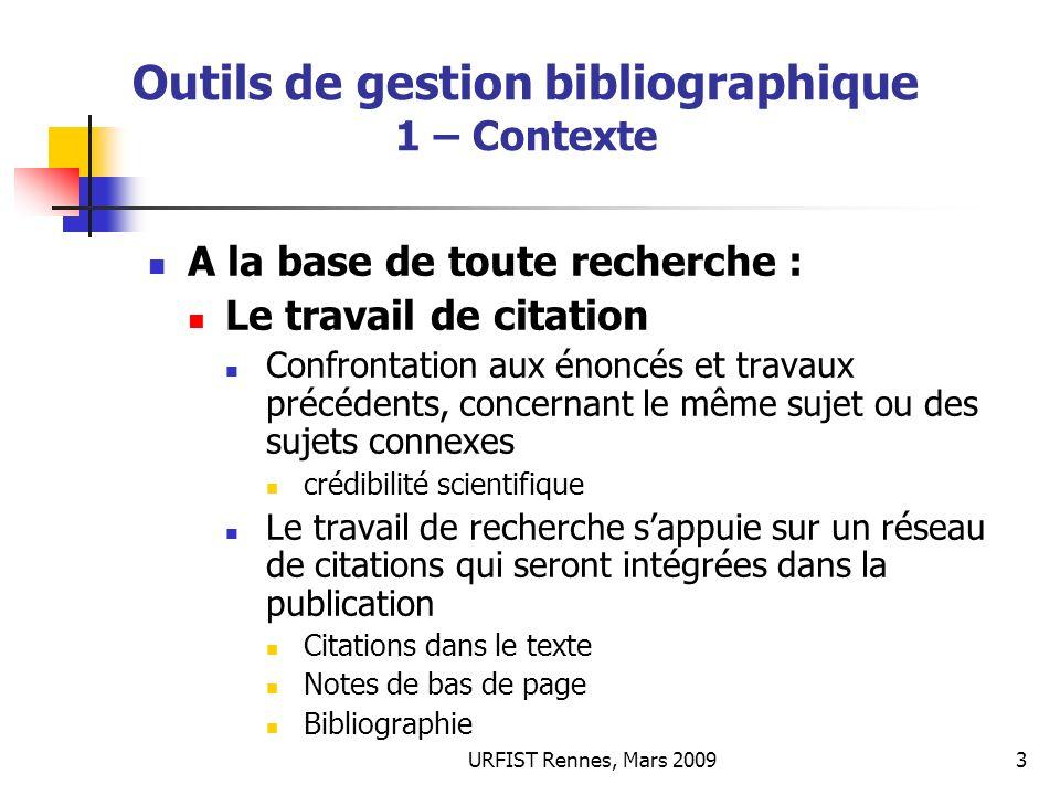 Outils de gestion bibliographique 1 – Contexte