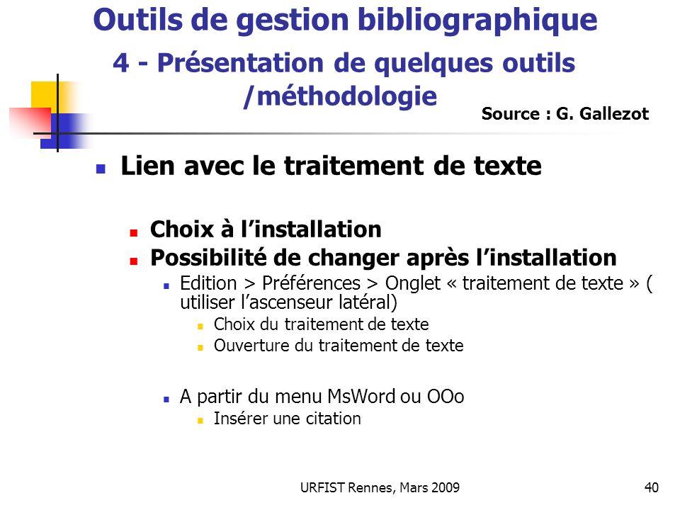 Outils de gestion bibliographique Outils de gestion bibliographique 4 - Présentation de quelques outils /méthodologie