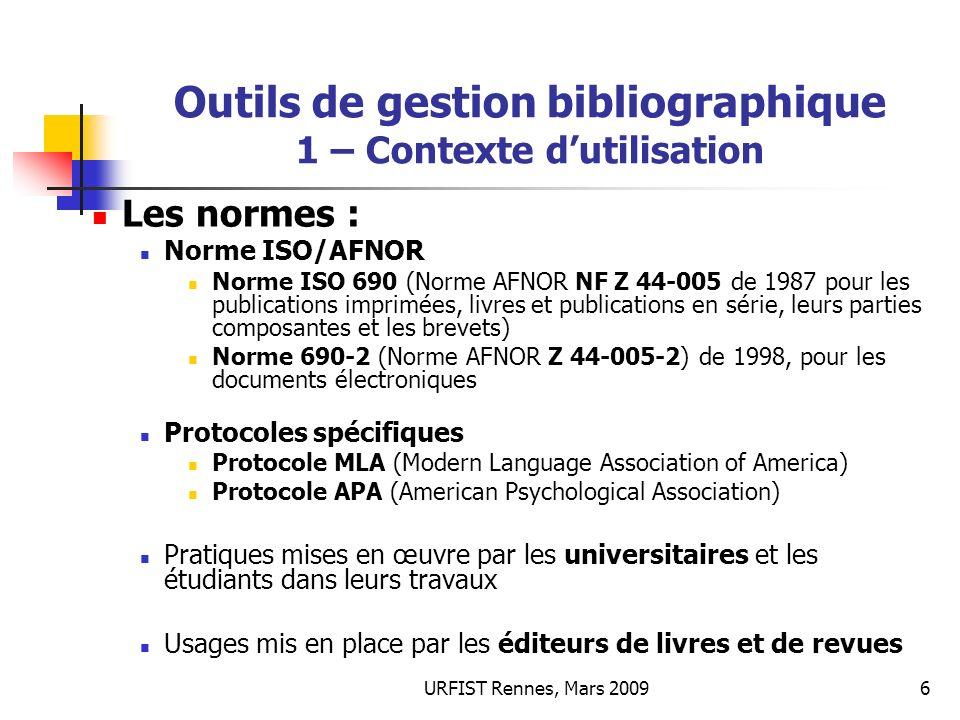 Outils de gestion bibliographique 1 – Contexte d'utilisation