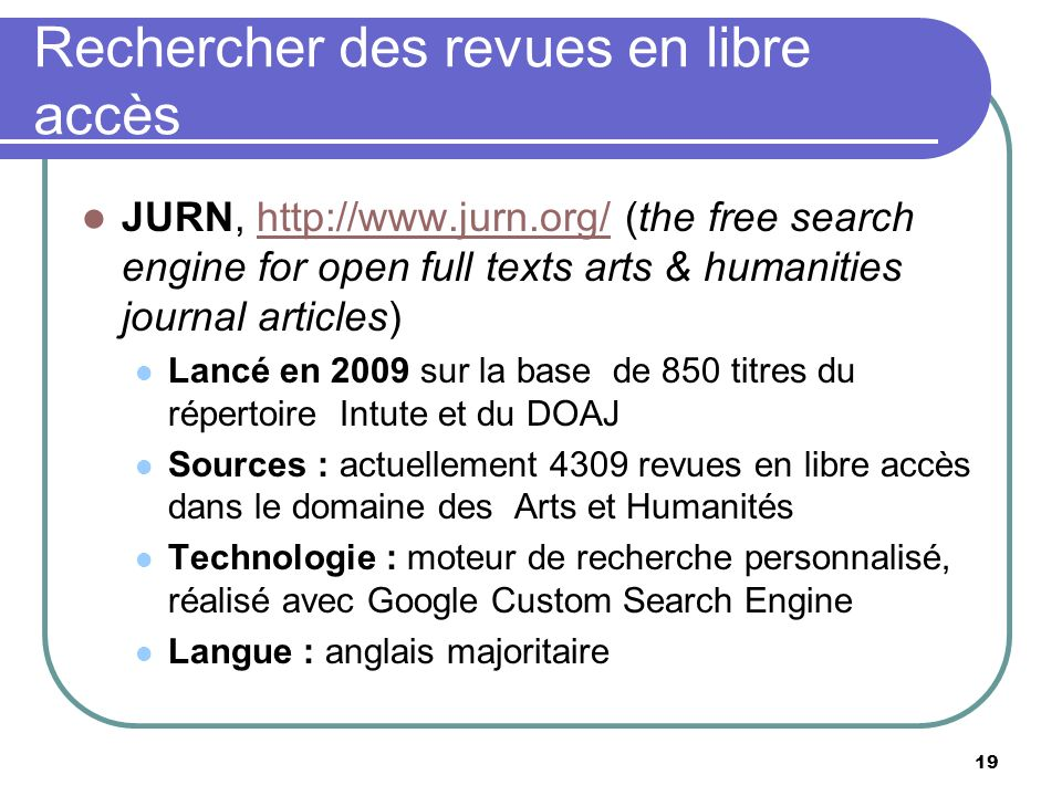 Rechercher des revues en libre accès