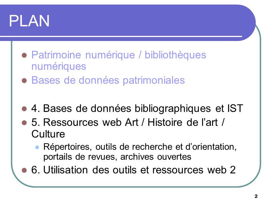 PLAN Patrimoine numérique / bibliothèques numériques