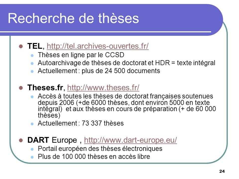 Recherche de thèses TEL, http://tel.archives-ouvertes.fr/
