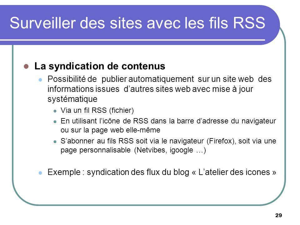 Surveiller des sites avec les fils RSS