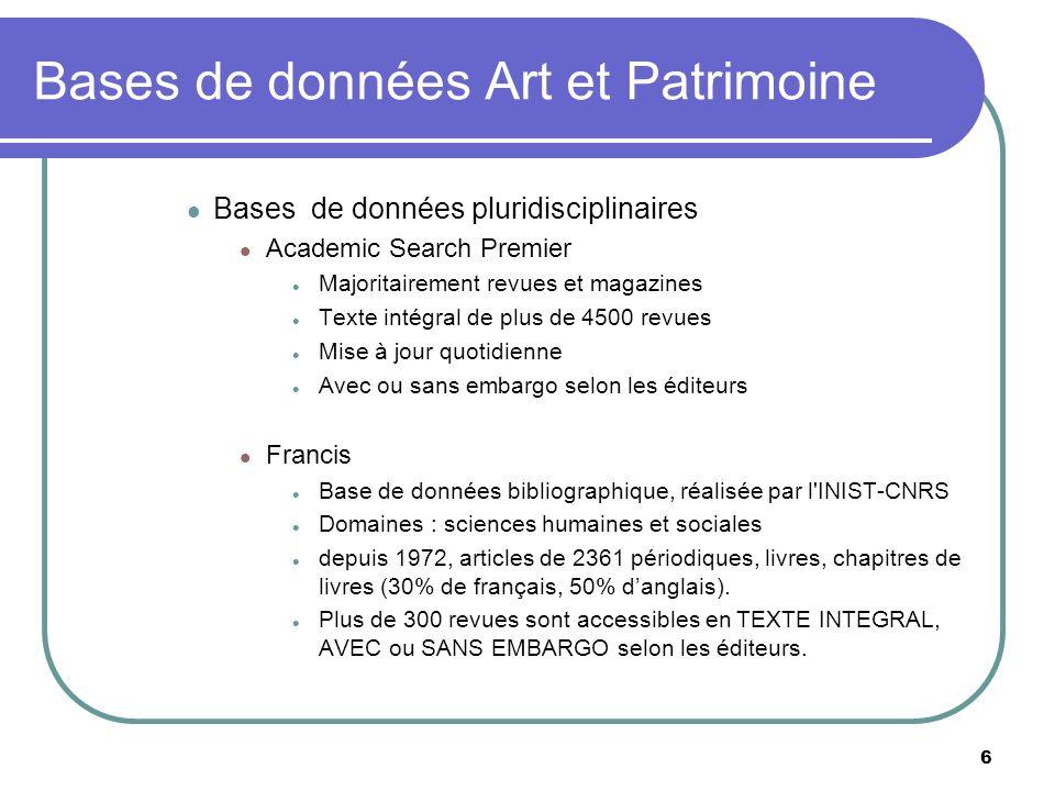 Bases de données Art et Patrimoine
