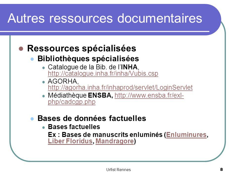 Autres ressources documentaires