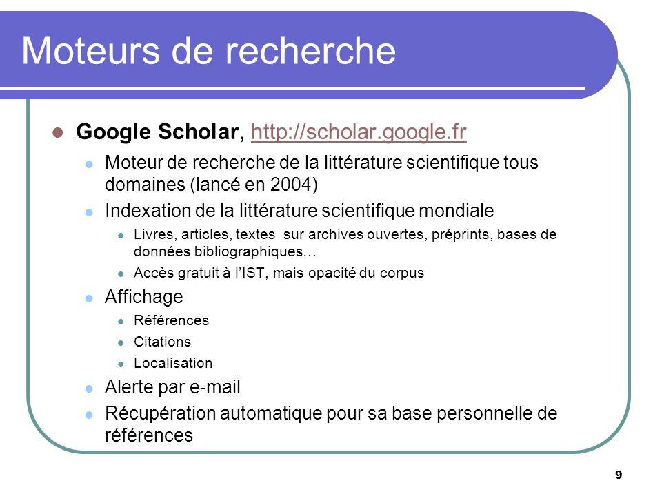 Moteurs de recherche Google Scholar, http://scholar.google.fr