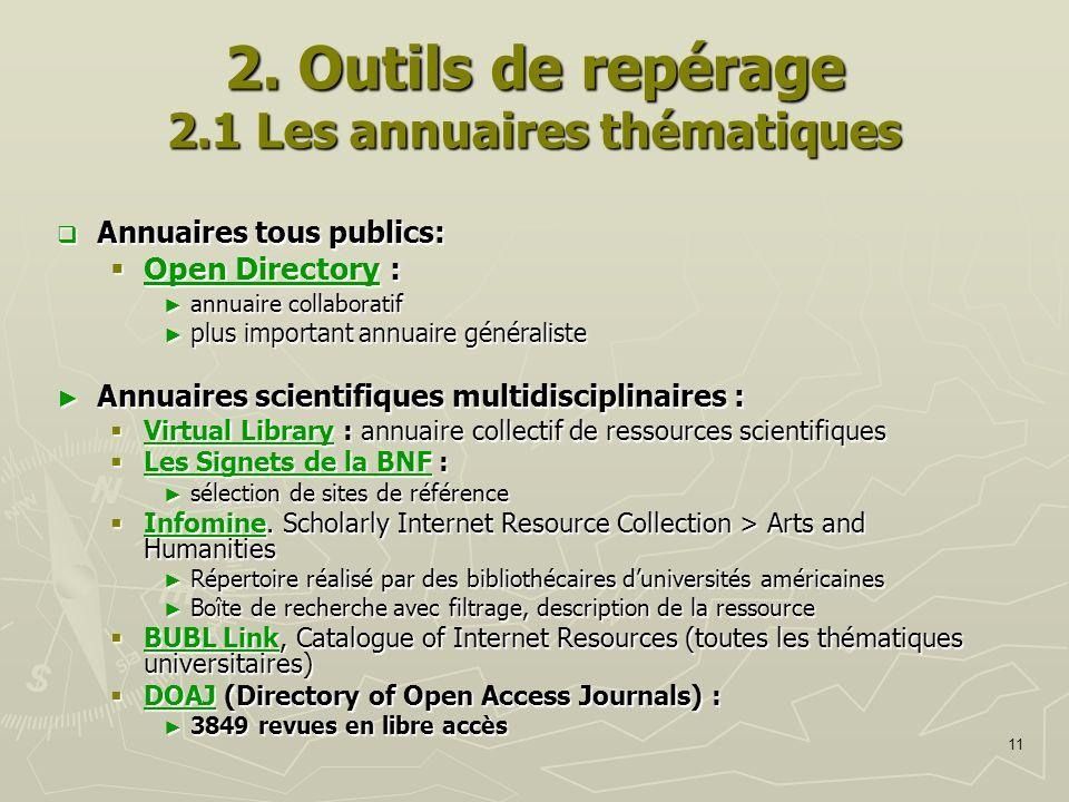 2. Outils de repérage 2.1 Les annuaires thématiques