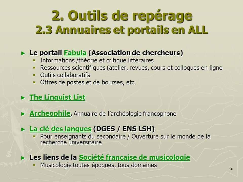 2. Outils de repérage 2.3 Annuaires et portails en ALL