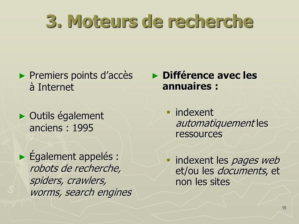 3. Moteurs de recherche Premiers points d'accès à Internet