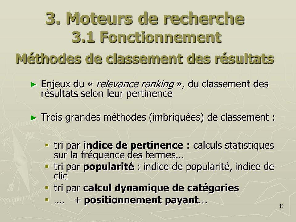 3. Moteurs de recherche 3.1 Fonctionnement Méthodes de classement des résultats