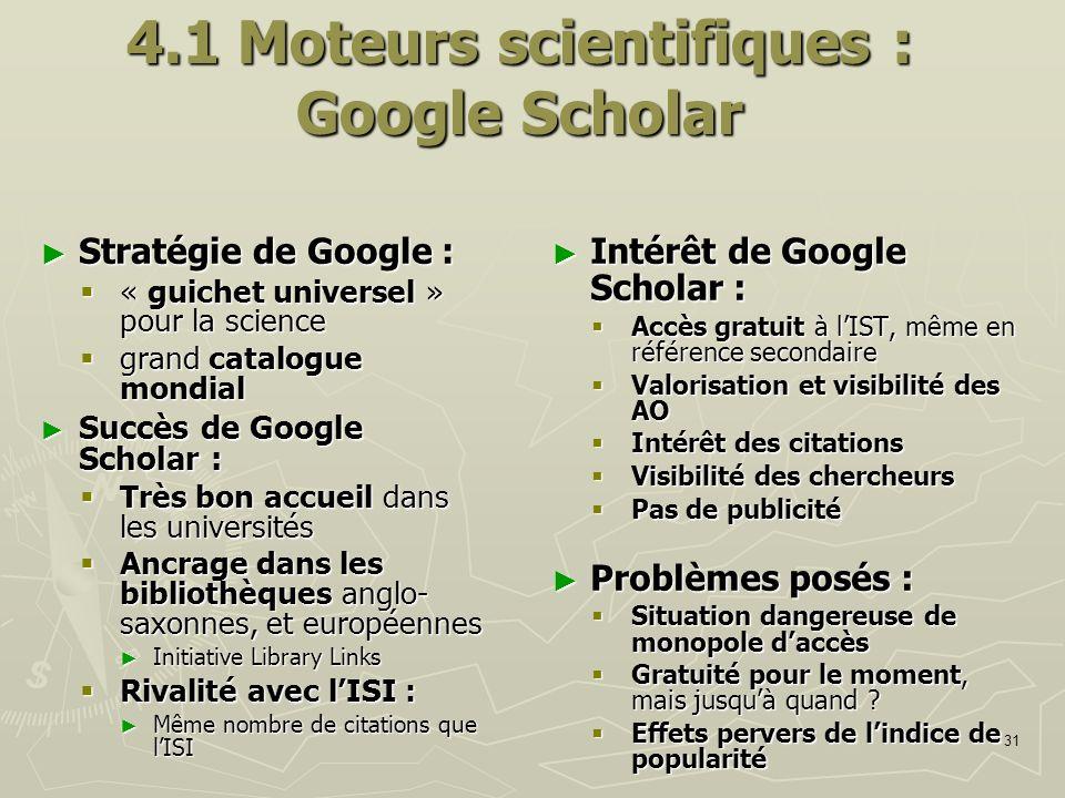 4.1 Moteurs scientifiques : Google Scholar