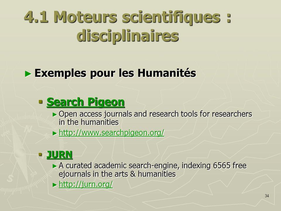 4.1 Moteurs scientifiques : disciplinaires