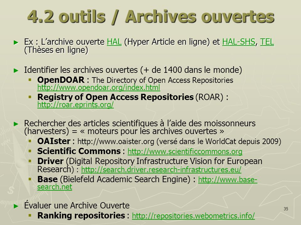 4.2 outils / Archives ouvertes