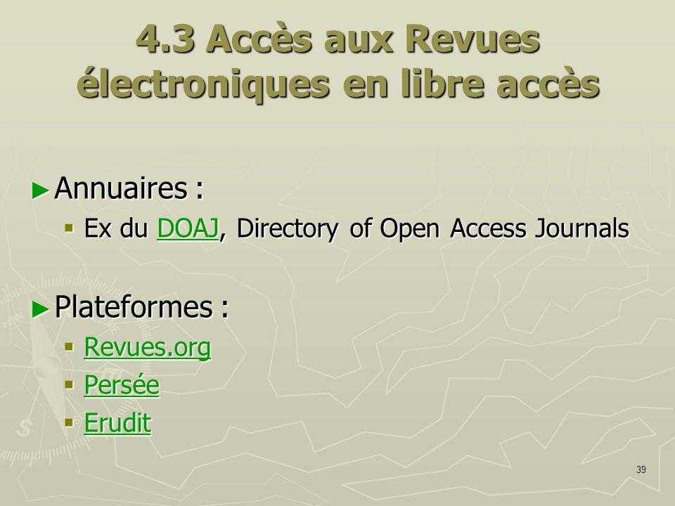 4.3 Accès aux Revues électroniques en libre accès