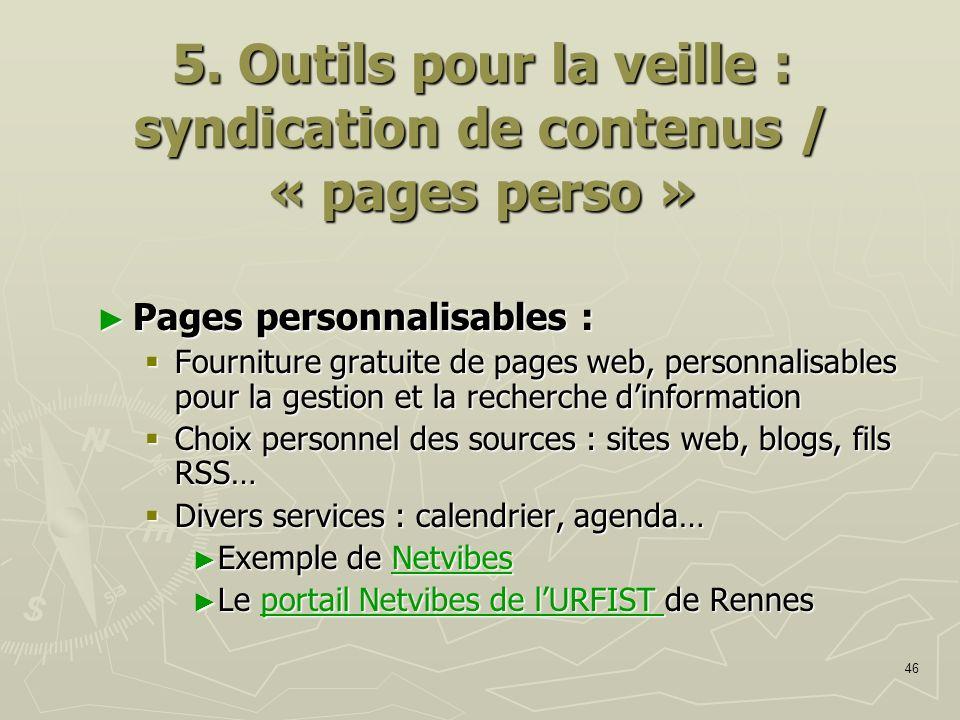 5. Outils pour la veille : syndication de contenus / « pages perso »