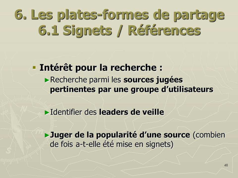 6. Les plates-formes de partage 6.1 Signets / Références