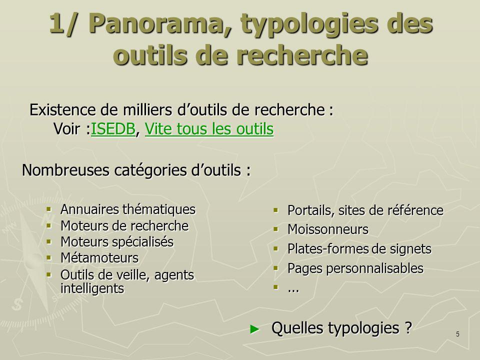 1/ Panorama, typologies des outils de recherche