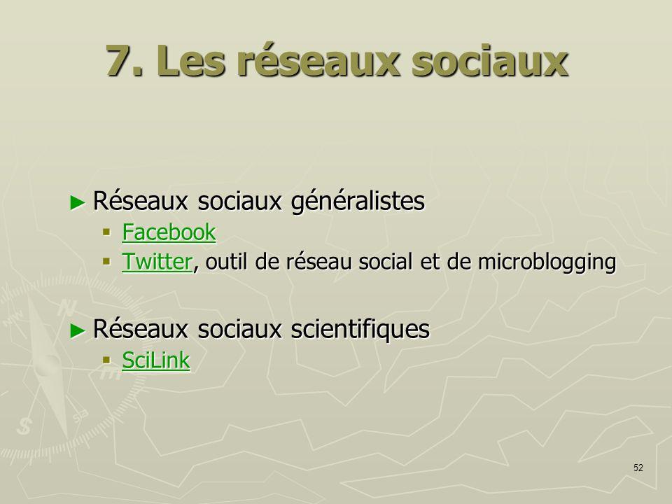 7. Les réseaux sociaux Réseaux sociaux généralistes