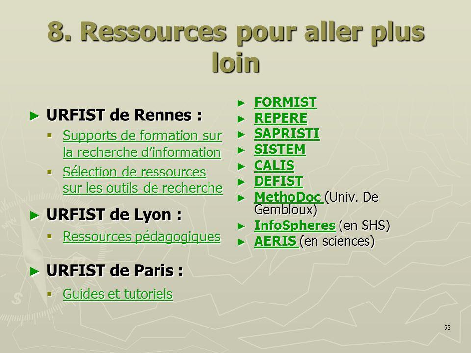 8. Ressources pour aller plus loin