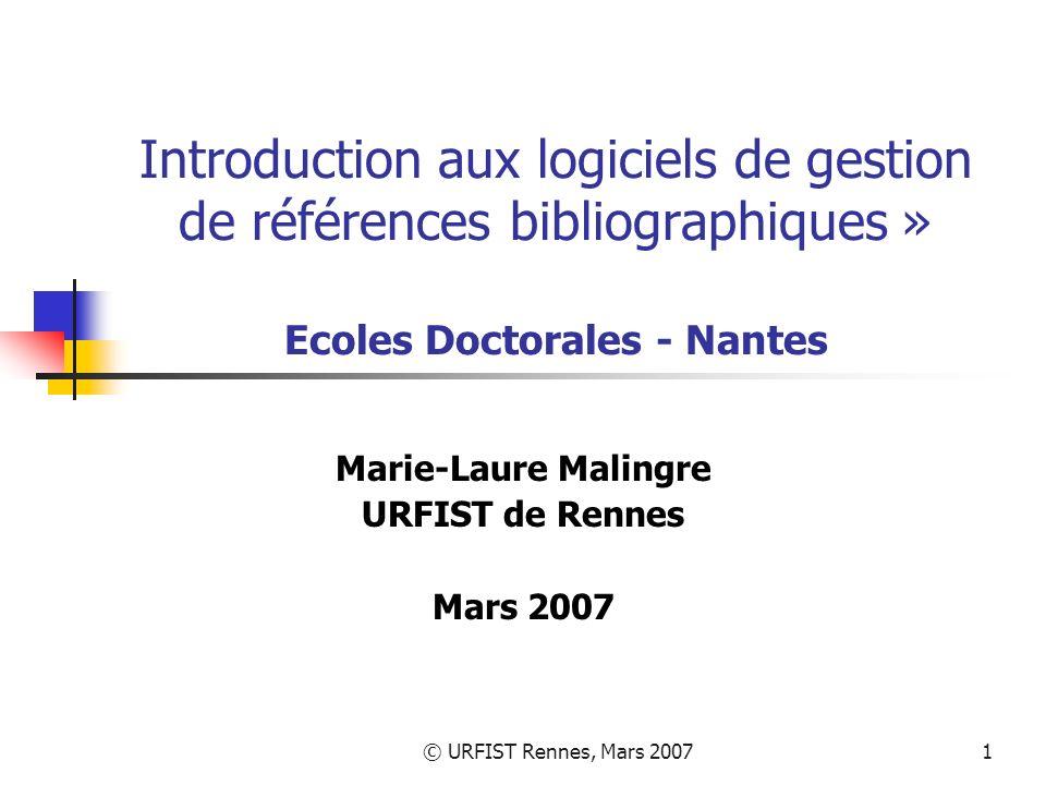 Marie-Laure Malingre URFIST de Rennes Mars 2007