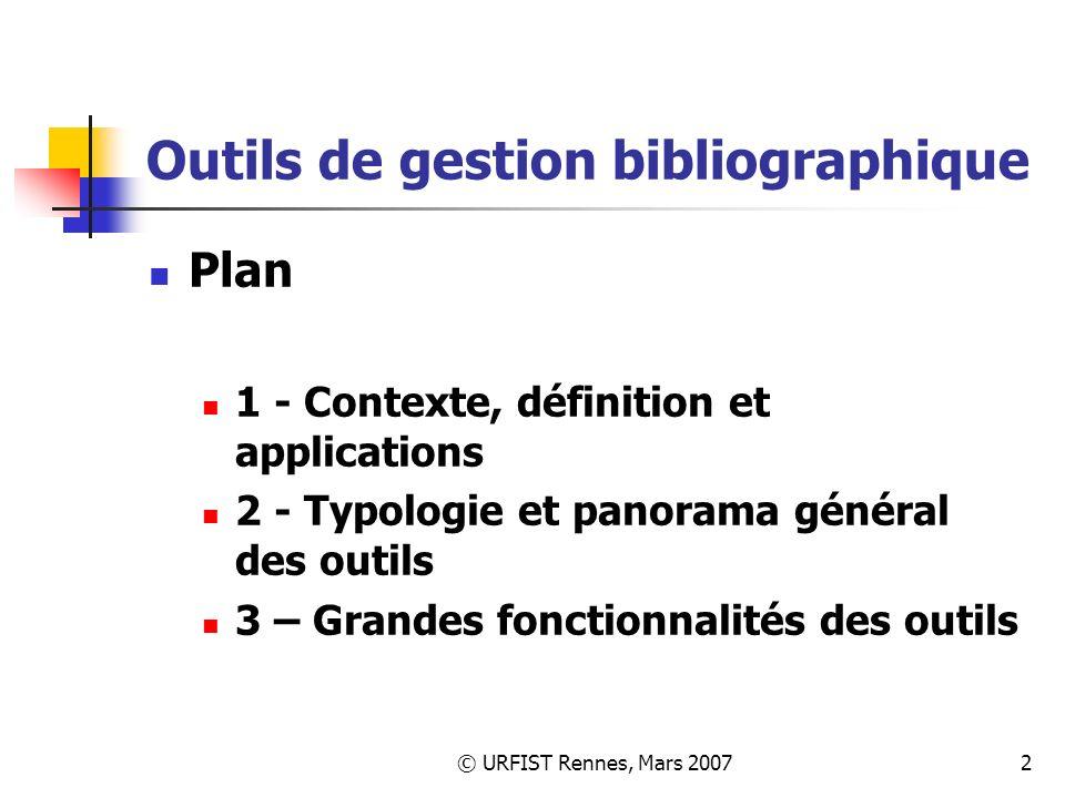 Outils de gestion bibliographique